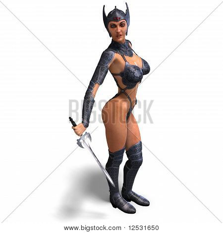 female amazon warrior with sword and armor