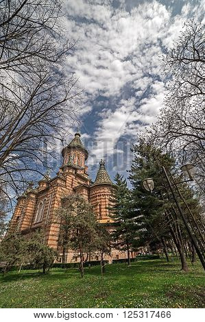 Fish eye view at the Orthodox Cathedral in Timisoara Romania from the park surrounding it.