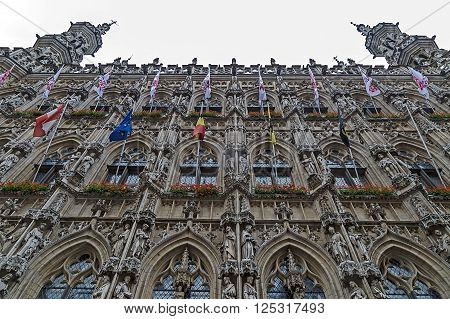 Gothic Town Hall on the Grote Markt in Leuven Flemish Brabant Belgium.