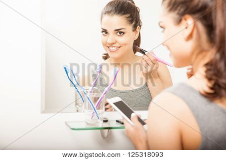 Busy Woman Getting Ready In The Bathroom