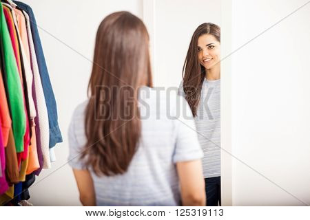 Woman Trying Clothes In A Dressing Room