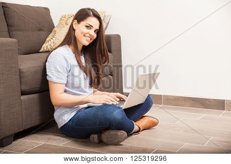 Pretty Brunette Working From Home