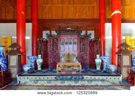 Mu Family Residence building interior in Lijiang, Yunnan, China.