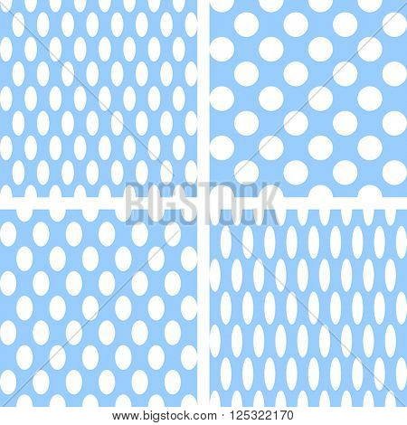 Seamless textures set. Circles and ellipses patterns. Vector art.