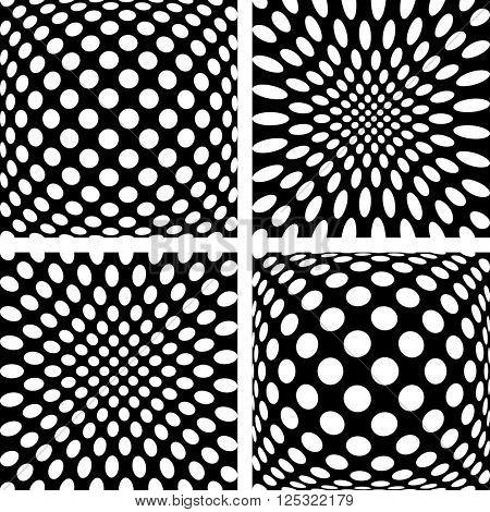 Convex and concave patterns set. Vector art.