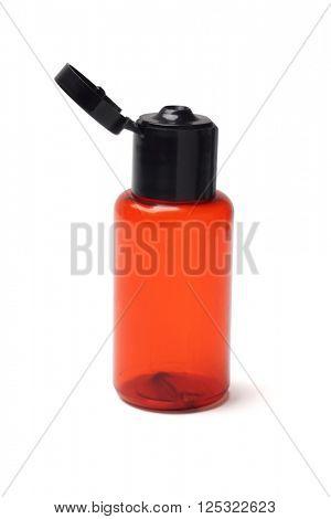 Empty Cosmetic Plastic Bottle on White Background