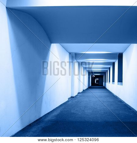 Perspective of a corridor. Toned in blue color