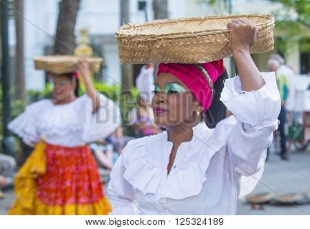 CARTAGENA COLOMBIA - FEB 04 : Street performers in Cartagena Colombia on February 04 2016. The historic port city Cartagena is UNESCO World Heritage Site since 1984.