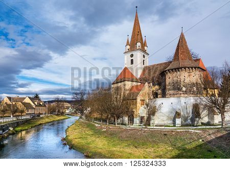 The fortified church of Cristian, Romania, near Sibiu. Southeastern Transylvania in Romania has one of the highest numbers of still-existing fortified churches, which were built during the 13th to 16th centuries