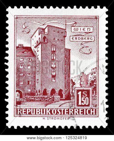 AUSTRIA - CIRCA 1958:  Cancelled postage stamp printed by Austria, that shows  Rabenhof in Vienna.