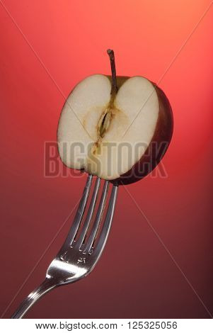 Red Apple Cut Half Fork Concept Fitness Health