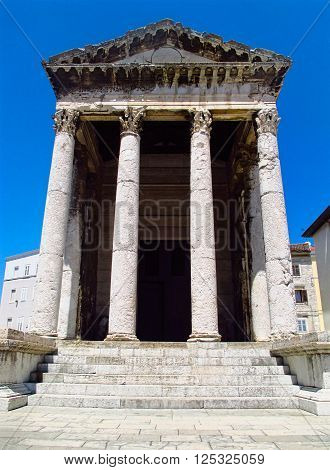 Ancient Roman Pantheon in Pula. Istria region in Croatia
