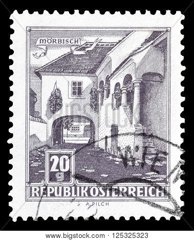 AUSTRIA - CIRCA 1961:  Cancelled postage stamp printed by Austria, that shows Farmhouse at Morbisch.
