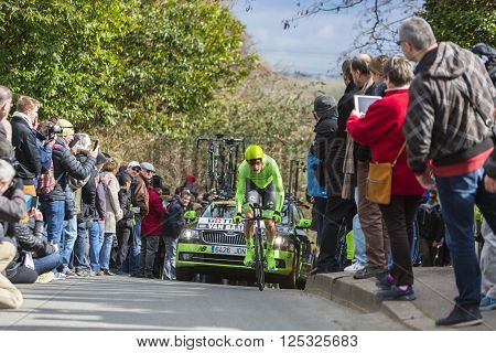 Conflans-Sainte-Honorine, France-March 6, 2016: The Dutch cyclist Dylan van Baarle of Cannondale Team riding during the prologue stage of Paris-Nice 2016.