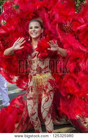BARRANQUILLA COLOMBIA - FEB 07 : Marcela García Reina del Barranquilla Carnival in Barranquilla Colombia on February 07 2016. Barranquilla Carnival is one of the biggest carnival in the world