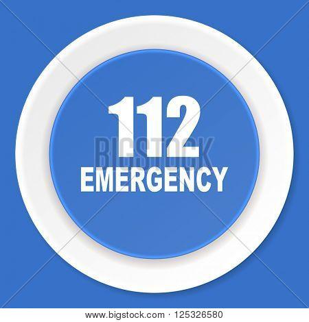 number emergency 112 blue flat design modern web icon
