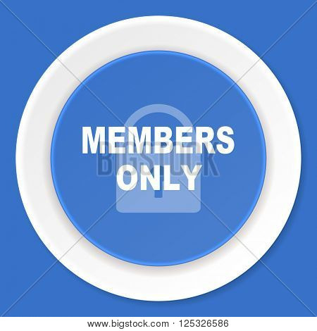 members only blue flat design modern web icon