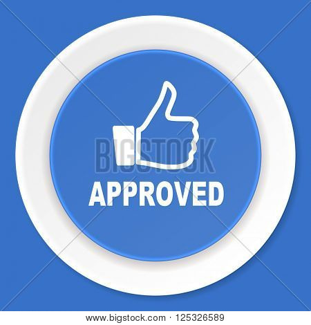 approved blue flat design modern web icon