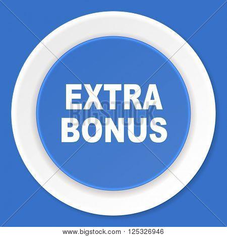 extra bonus blue flat design modern web icon