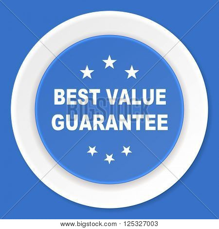 best value guarantee blue flat design modern web icon