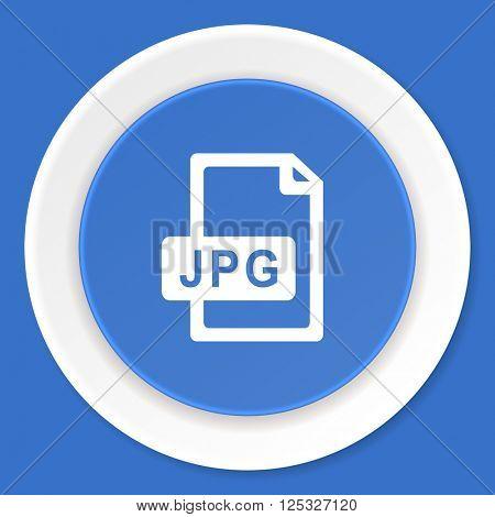 jpg file blue flat design modern web icon