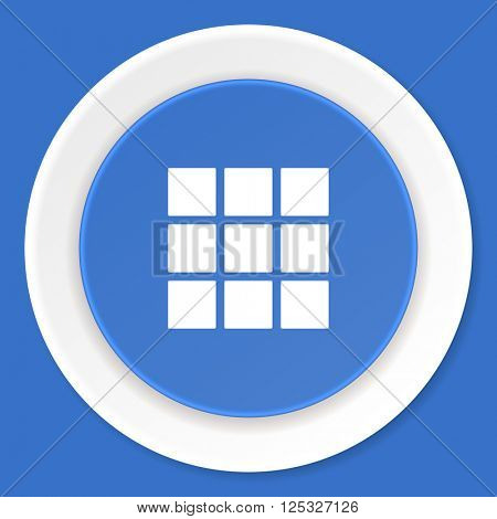 thumbnails grid blue flat design modern web icon