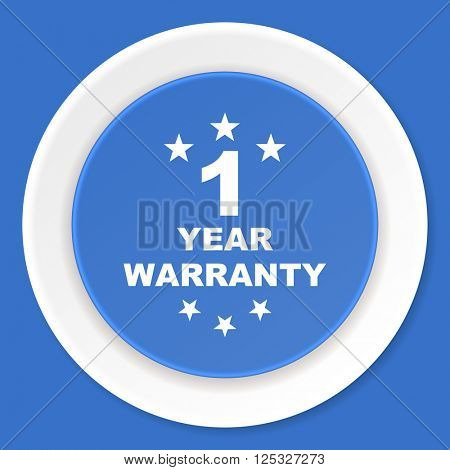 warranty guarantee 1 year blue flat design modern web icon