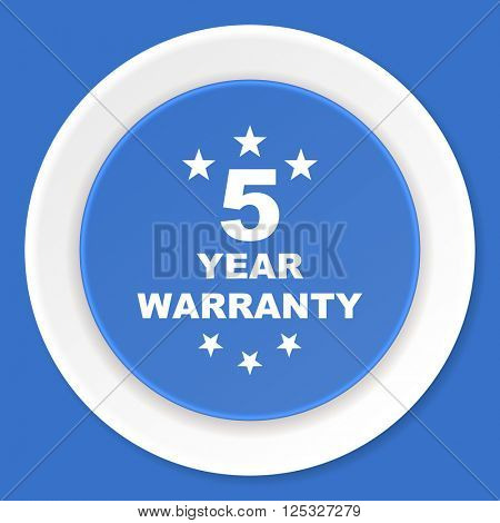 warranty guarantee 5 year blue flat design modern web icon