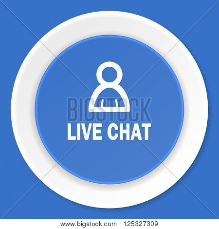 live chat blue flat design modern web icon