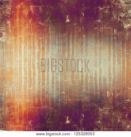 Old style decorative composition or designed vintage template with textured grunge elements and different color patterns: yellow (beige); brown; purple (violet); red (orange); gray; pink