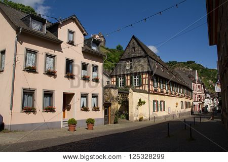 Bacharach Germany - May 19 2015: Bacharach road and view of Castle Stahleck in Rhine area Germany.