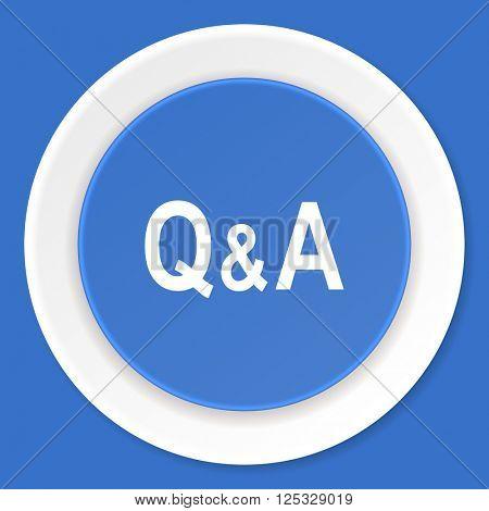 question answer blue flat design modern web icon