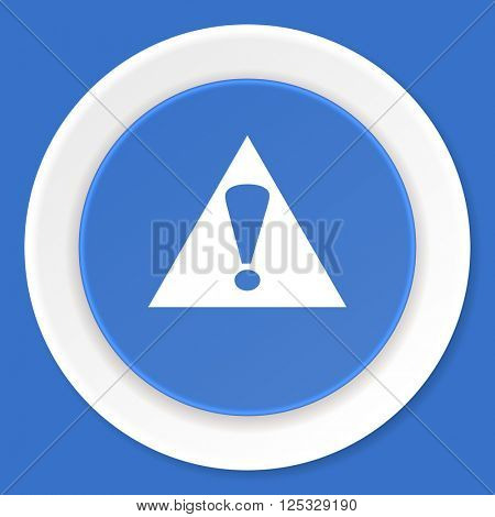 exclamation sign blue flat design modern web icon