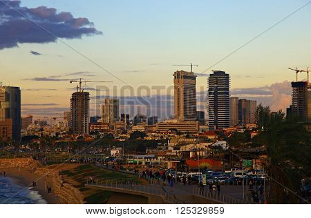 Sight of the Tel Aviv Israel. Twilight. ** Note: Visible grain at 100%, best at smaller sizes