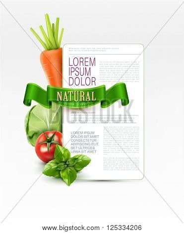 Vector menu pattern with vegetables (carrots, cabbage, basil, tomato) and green ribbon