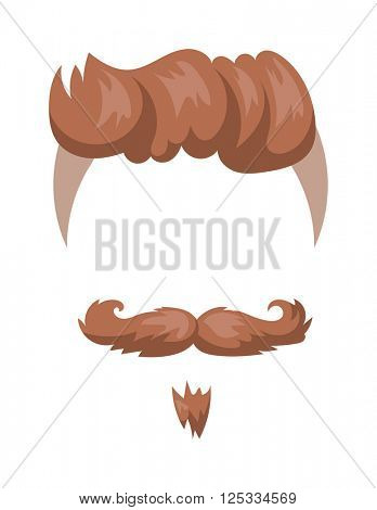 Hairstyles beard and hair face cut mask flat cartoon icon