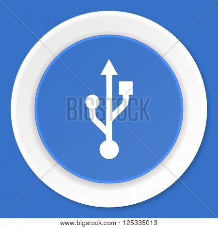 usb blue flat design modern web icon