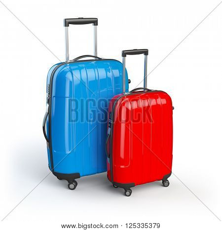 Luggage. Two baggage suitcases  isolated on white. 3d illustration