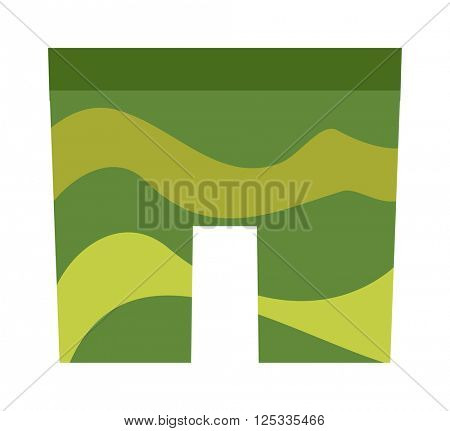 Military clothes uniform camouflage army shorts soldier green pattern fabric isolated flat vector illustration.