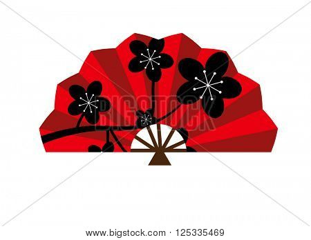 Red silk chinese fan traditional asian oriental culture paper accessory vector illustration.