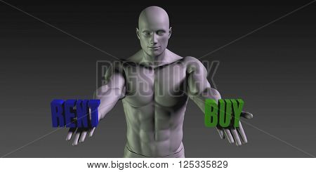 Buy vs Rent Concept of Choosing Between the Two Choices 3D Illustration Render