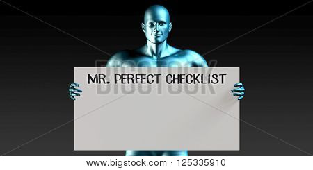 Mister Perfect Checklist with a Man Carrying Reminder Sign 3D Illustration Render