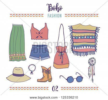 Bohemian fashion style set, boho and gypsy clothes illustration