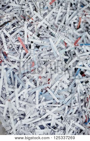 Shredded documents, privacy concept