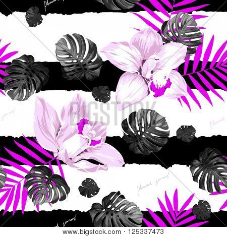 Seamless pattern of leaves monstera and blooming orchids on the striped background