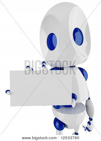 Small Robot Holding And Presenting A Blank Card