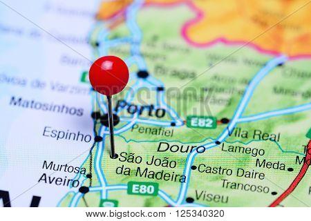 Sao Joao da Madeira pinned on a map of Portugal