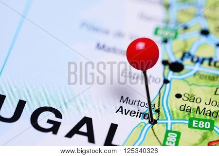 Aveiro pinned on a map of Portugal