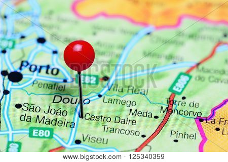 Castro Daire pinned on a map of Portugal