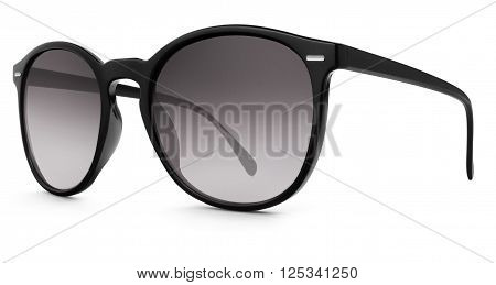black sun glasses with shade lenses  isolated on white background
